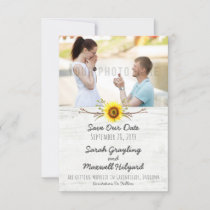 Sunflower & Rustic Wood Farm Wedding Save The Date