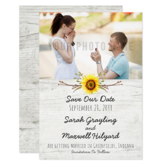 Sunflower & Rustic Wood Farm Wedding Save The Date Card