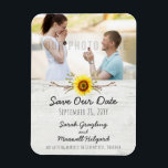 """Sunflower & Rustic Wood Farm Wedding Save The Date Magnet<br><div class=""""desc"""">Rustic country wedding... farmhouse style! Sweet vintage watercolor art with natural branches, cotton buds and vivid yellow sunflowers on light wood - it's a down-home contemporary design with plenty of warmth and charm for that special day. • Customize it! Follow the template to add your own text, or click the...</div>"""
