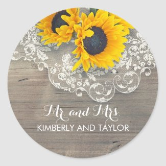 Rustic Sunflower and Lace Wedding Round Stickers