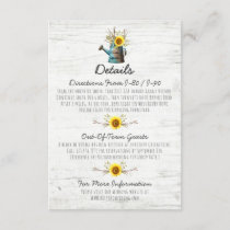 Sunflower Rustic Wood Wedding Details / Directions Enclosure Card