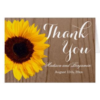 Sunflower Rustic Wood Wedding Thank You Card