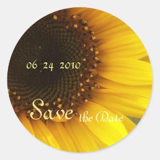 Sunflower Save the Date Classic Round Sticker