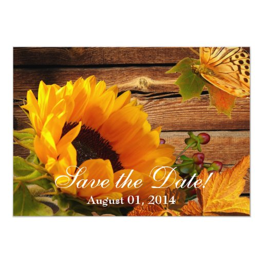 Sunflower Save the Date Invitations Country Fall
