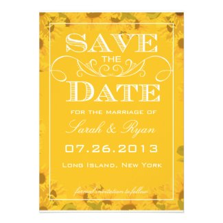 Vintage Sunflower Save the Date Cards