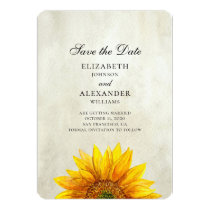 Sunflower save the date. Rustic wedding. Country Card