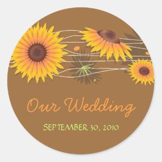 Sunflower Save The Date Wedding Announcement 2 Classic Round Sticker