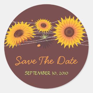Sunflower Save The Date Wedding Announcement Classic Round Sticker