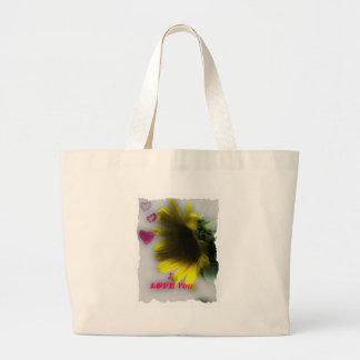 Sunflower say I love you Large Tote Bag