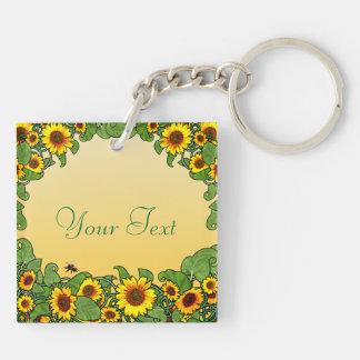 Sunflower Scroll Keychain