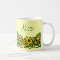 Sunflower Scroll Mug