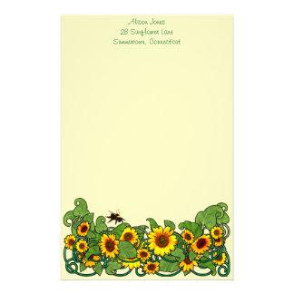Sunflower Scroll Stationery