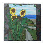 "Sunflower seascape ceramic tile<br><div class=""desc"">Lovely sunflowers with a seascape view on this original artwork with a mosaic appeal</div>"
