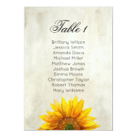Sunflower seating chart. Rustic wedding table plan Card