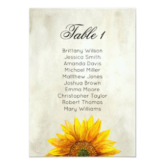 Sunflower seating chart. Rustic wedding table plan Invitation