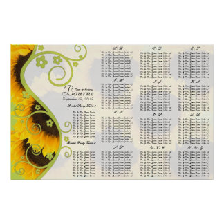 Sunflower Seating Chart Table Numbers Poster