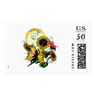 Sunflower Shadow Fairy and Cosmic Cat Postage
