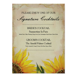 Sunflower Signature Wedding Cocktail Sign Poster