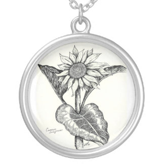 Sunflower Sketch Round Pendant Necklace