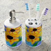 Sunflower Soap Dispenser and Tooth Brush Set