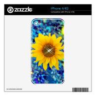 Sunflower sparkle art phone skin skin for the iPhone 4S