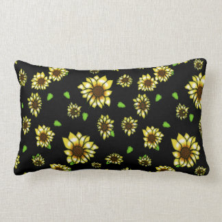 Sunflower Stained Glass on Black Throw Pillow