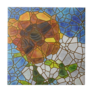 Sunflower stained glass tile