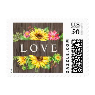 Sunflower stamp with LOVE on wood background