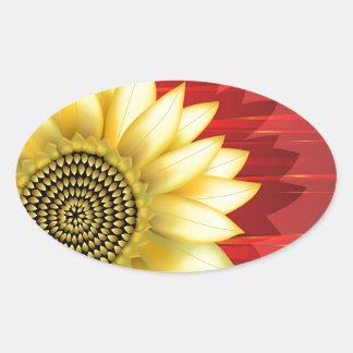 Sunflower Oval Stickers