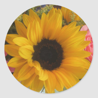 Sunflower Round Stickers