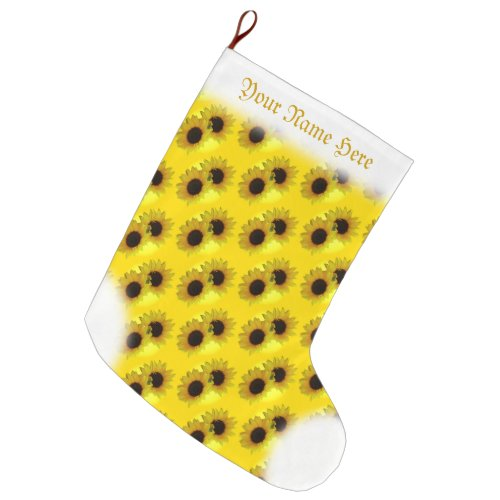 Sunflower Stocking Gold Christmas Stocking Custom