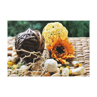 Sunflower, Stones and Woven Balls Stretched Canvas