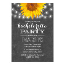 Sunflower & String Lights Bachelorette Party Invitations