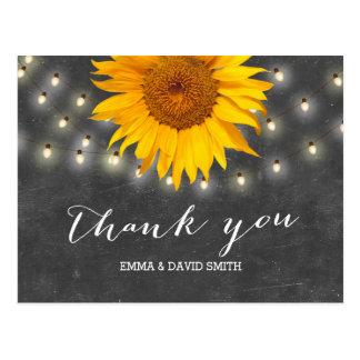 Sunflower & String Lights Chalkboard Thank You Postcard