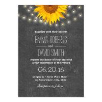 Sunflower &amp; String Lights Chalkboard Wedding Card (<em>$2.00</em>)