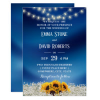 Sunflower & String Lights Navy Blue Wedding Card