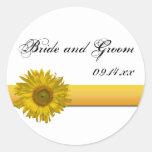 Sunflower Stripe Wedding Envelope Seals Stickers