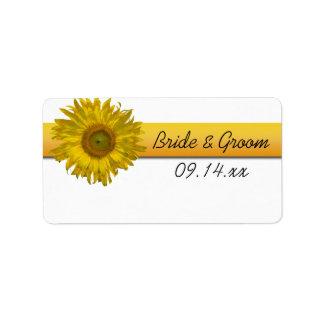 sunflower stripe wedding favor tags