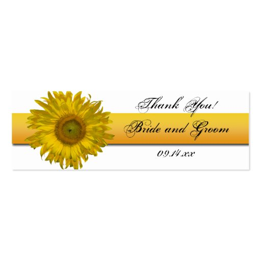 Sunflower Stripe Wedding Favor Tags Double-Sided Mini Business Cards (Pack Of 20)
