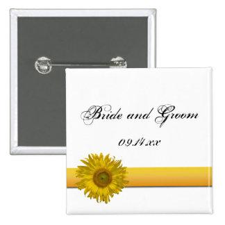 Sunflower Stripe Wedding Pinback Button