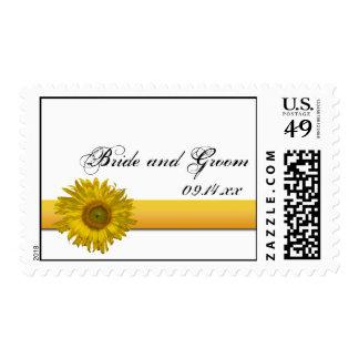 Sunflower Stripe Wedding Postage