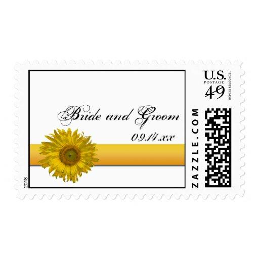 Sunflower Stripe Wedding Postage Stamp