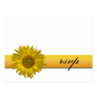 Sunflower Stripe Wedding RSVP Response Postcard