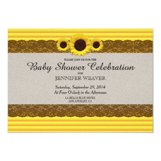 Sunflower, Stripes, and Brown Lace 5x7 Paper Invitation Card