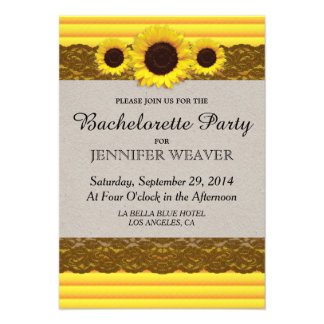 Sunflower Stripes and Brown Lace Personalized Invites