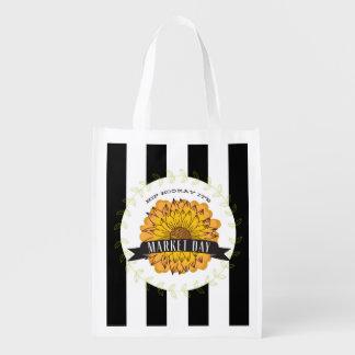 Sunflower & Stripes Farmer's Market Bag Reusable Grocery Bags