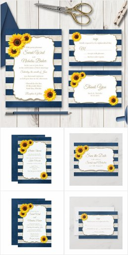 Sunflower Stripes Navy Blue Wedding Invitations