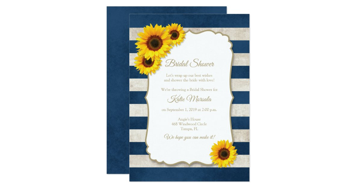 d685c8f509e1 Sunflower Stripes Rustic Navy Blue Bridal Shower Invitation