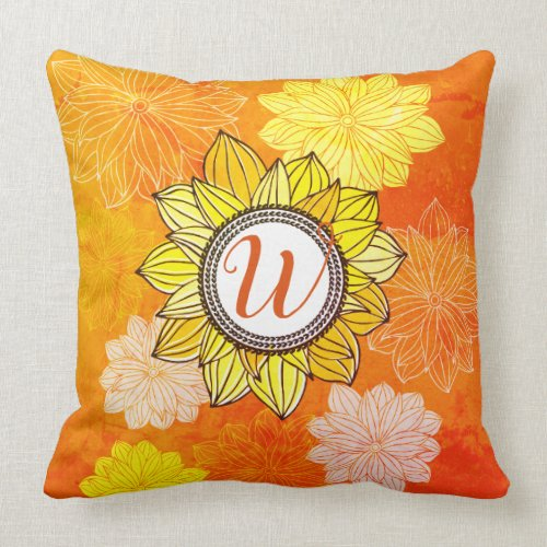 Sunflower summer floral personalized monogram throw pillow