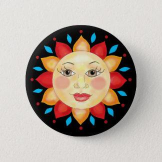 Sunflower Sun Face Button